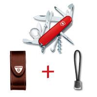 SwissPack Explorer rojo + Funda de Piel + Cordón [Ex-LBoLBr] :