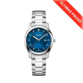 CITY CLASSIC Ø34 blue dial, Bracelet - Wenger