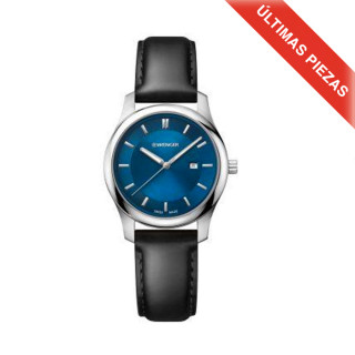CITY CLASSIC Ø34 blue dial, Black leather strap - Wenger