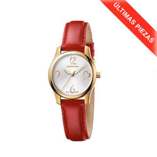 CITY VERY LADY Ø34 4N PDV, Silver dial, Red leather - Wenger