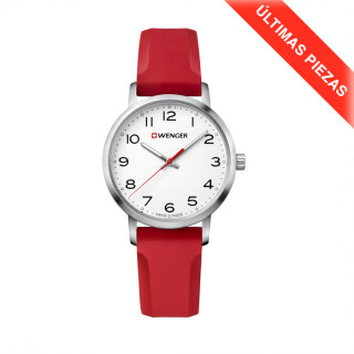 AVENUE Ø35 White dial, Red silicone strap - Wenger
